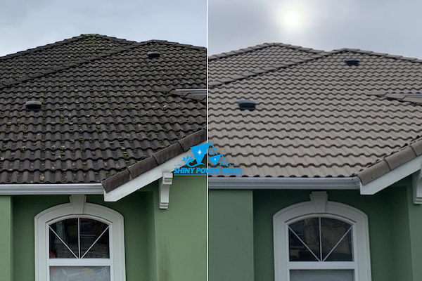Before / After our Non-Pressure Roof Cleaning